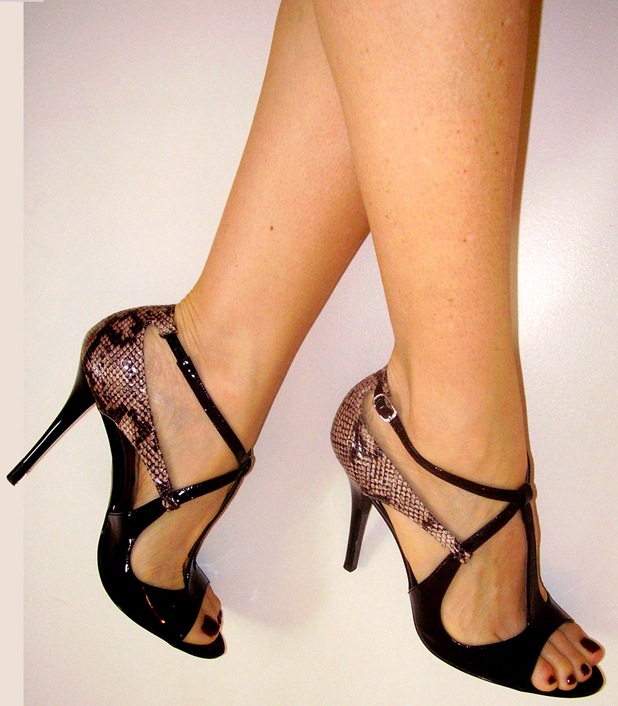 Snakeskin patent heels
