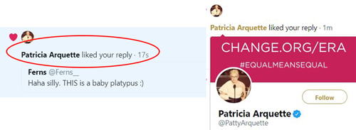 Partricia Arquette liking my tweet